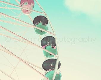 Carnival Photography Ferris Wheel Photo Fair Print Vintage Retro - 8x10 8x8 10x10 11x14 12x12 20x20 16x20 -
