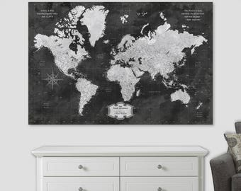 Push pin world map etsy world map pin board travel map poster push pin world map wall art canvas vintage push gumiabroncs Gallery