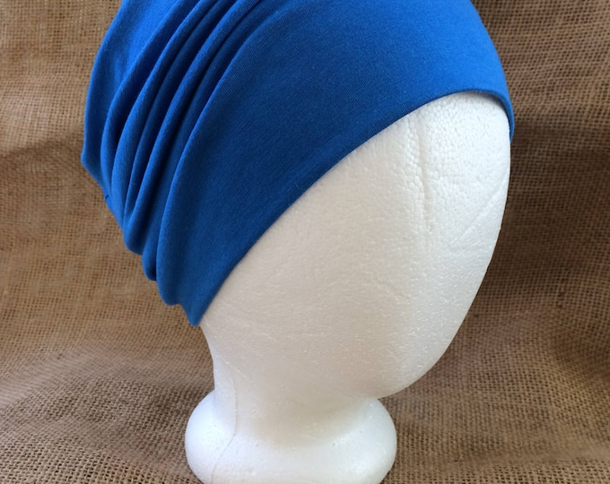 Men or Womens Ocean Blue Bamboo Chemo Cap Cancer Headwear