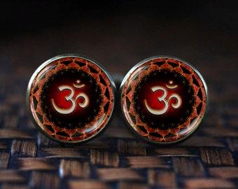 Om Symbol cufflinks, Om cufflinks, Namaste cufflinks, Zen Yoga cufflinks, Buddhist cufflinks, Men's Yoga cufflinks, dark red cufflinks