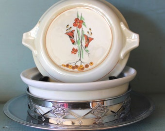 Vintage Fraunfelter China Royal Rochester with Chrome Holder Art Deco Style Casserole