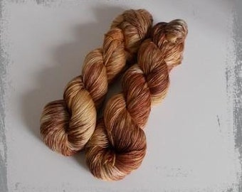 Hand Dyed lace yarn, merino silk, brown, beige