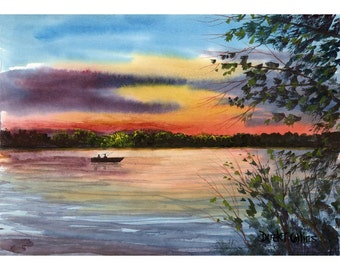 Watercolor Painting lake Sunset Print  River Boat  evening Landscape water fishing fisherman  Giclee