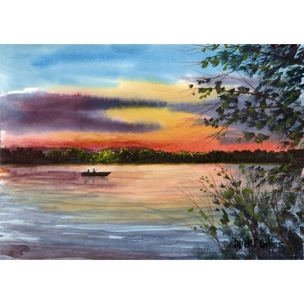 Watercolor Painting Lake Sunset Print River Boat Evening