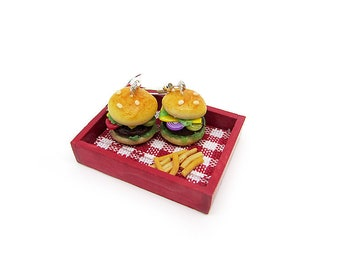 Hamburger Earrings [Only Earrings or With Tray and Fries] – Handmade Polymer Clay Miniature, Dollhouse, Food Miniature, Food Jewelry