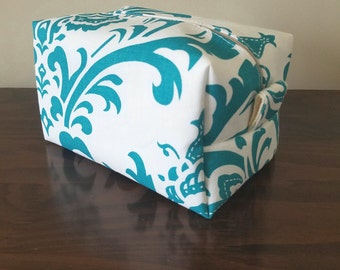 Turquoise Damask Makeup Bag - Water Resistant Cosmetic Bag