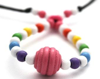 Fiddle necklace, babywearing necklace, nursing necklace, breastfeeding necklace, rainbow, unique, wooden beads