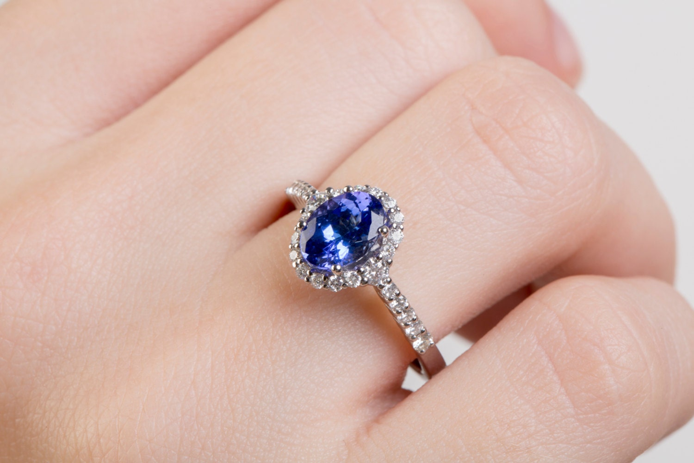Blue Diamond Ring Tanzanite Gold Ring 18k Solitaire Ring