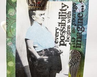 Frida Kahlo, Mixed Media Tag, Altered Frida Tag, Junk Journal, Gift Tag, Thank You Tag, Journal Tag, Birthday Tag, Frida