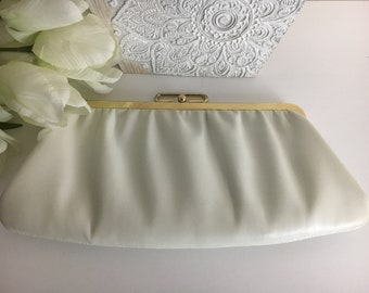 Vintage white leather clutch with gold fold over clasp