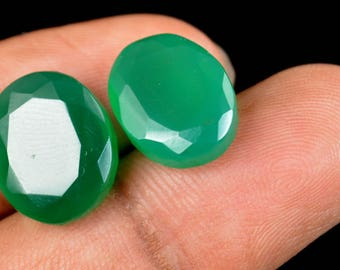 16.30 Ct Natural Oval Cut Green Onyx Emerald Loose Gemstone Matching Pair Christmas Gift