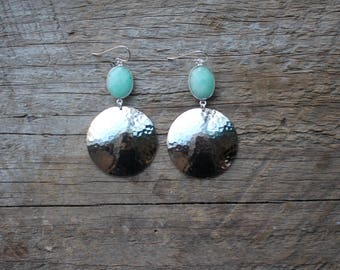 Silver Bezel Set Chrysoprase Stone and Hammered Brass Earrings