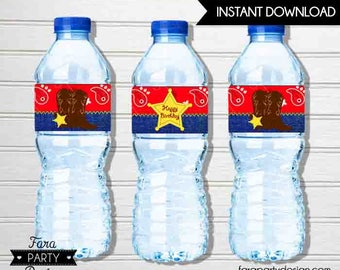 Cowboy Birthday Party PRINTABLE Water Bottle Labels by Fara Party Design   Western Theme Birthday   Sheriff Birthday