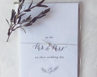 hand lettered wedding card 'Mr. & Mrs.'