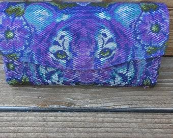 Necessary Clutch Wallet/NCW/Clutch/ accordion wallet/ womans wallet/tiger/purple/ gift/handmade/shiba