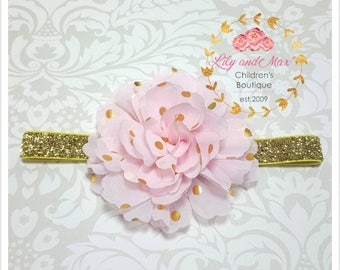 Pink and gold headband, pink and gold polka fluffy flower elastic headband, soft baby headband, toddler headband, photo prop