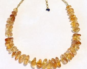 Beaded Necklace, Gemstone Necklace, Citrine Necklace, Chunky Necklace, Statement Necklace, Bold Necklace, Elegant Necklace, Simple Necklace