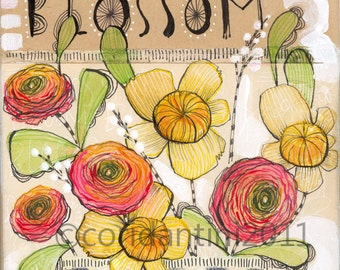 floral print - blossom - pink - orange - yellow -  flowers - 8 x 8  - limited edition - archival - cori dantini