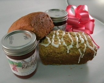 Jam.Jelly. and Bread. Gift Pack. Choose 2 breads and 2 jams or jellies FREE SHIPPING, Holiday gift, food gift, homemade bread, gourmet jam