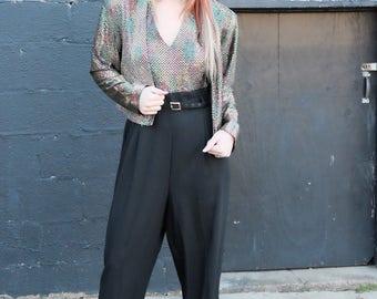 Vintage sequin jumpsuit/80s/90's/sequin jacket/Size:medium-large