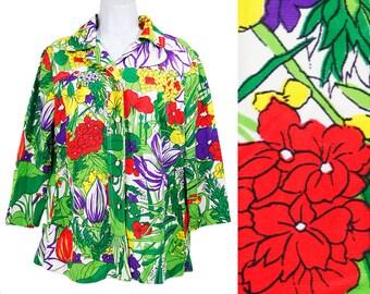 7 Dollar Sale---Vintage 70's JCPENNEY FASHIONS Colorful Floral Blouse Shirt L/XL