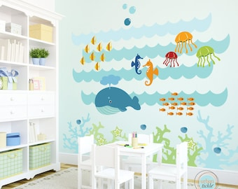 Kids Wall Decal, Under The Sea, Extra Large, Nursery Artwork, Wall Sticker for Baby Room, Play Room Decals, Whale, Fish, Nautical
