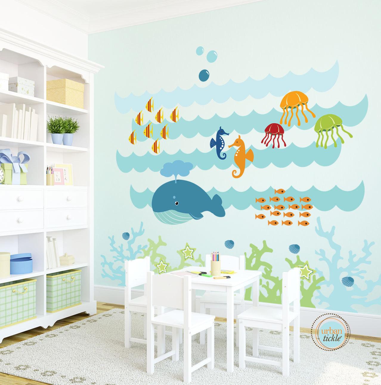 kids wall decal under the sea extra large nursery artwork rh etsy com