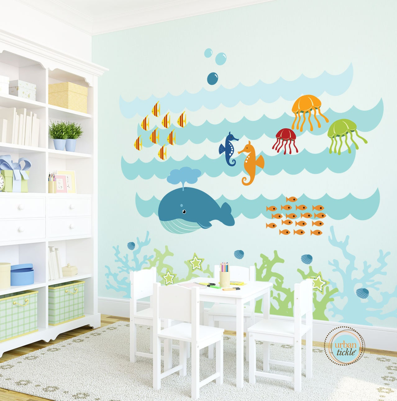 Kids Wall Decal Under The Sea Extra Large Nursery Artwork for Wall Stickers For Kids Bedrooms Interior Design  113lpg