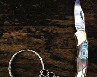 Gorgeous Abalone Pocket Knife Keychain
