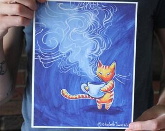 Cat Drinking Coffee; Fine Art Print