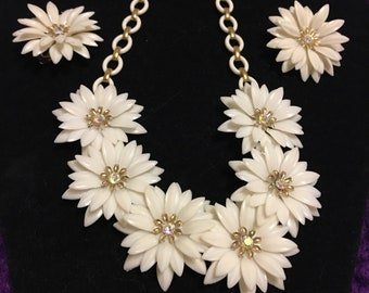 Coro vintage 1950s soft plastic flower necklace snd earring set with aurora rhinestones