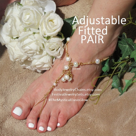 pair with adjustable brass foot freshwater wedding fitted jewelry beach barefoot sandals toe Gold ring plated pearls ivory gold anklets aqTwCY7