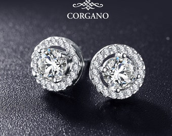 Earrings - Studs - Platinum Plated - 6 mm Cubic Zironia - Halo