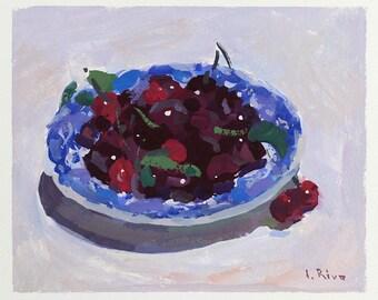Original Gouache Painting - First Cherries in Sunlight - FREE SHIPPING WORLDWIDE