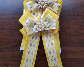 Yellow & White Daisy Diamonds Equestrian Show Bows (Grand Champion Size)