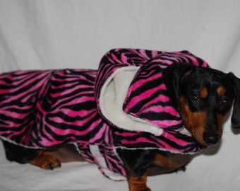 Pink and Black Zebra Print lined with Sherling (removeable hood)  1 small left. made and ready to ship