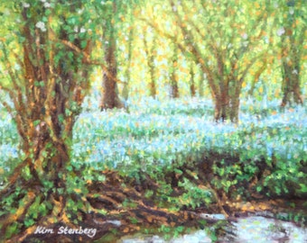 Bluebell Spring Woods French Country Painting Original Oil Impressionist Landscape Ready to Hang Wall Art Unique Gift By Kim Stenberg