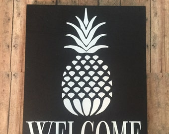welcome to our home,Pineapple welcome sign, pineapple decor, welcome sign, welcome pineapple,  pineapple