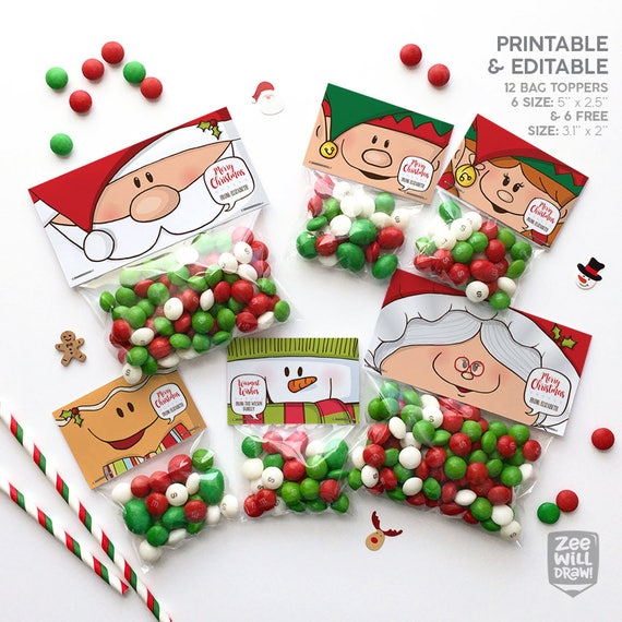Shocking image intended for christmas bag toppers free printable