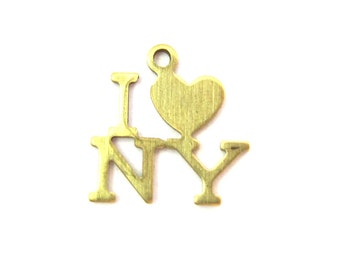 Small Brass I Heart New York Charms (10X) (M613)