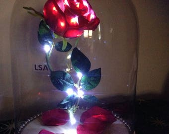 LUXURY 'Floating' LSA GLASS Life-Sized 'Enchanted Rose' Beauty & The Beast Belle Light Up Fairytale/Wedding- Disney Inspired