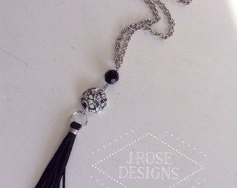 Black Marble and Deerskin Leather Fringe Tassel Lariat Necklace