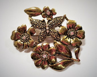 Vintage Butterfly and Flowers in Pressed Gold Tone Metal Brooch, Pin with Tiny Crystal Rhinestone Accents.  Fashion Jewlery. Birthday Gift.