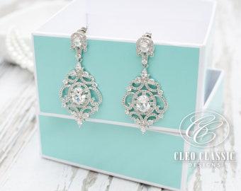 Wedding Earrings, Bridal Earrings, Bridesmaid Gifts, Zircon Dangle Earrings, Bridesmaid Earrings, Chandelier Earrings, Crystal Earrings