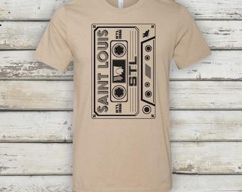 STL Cassette T-Shirt - STL City Shirt by Benton Park Prints, St Louis, Saint Louis