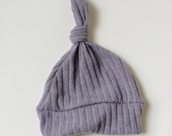Beanie/Hat - Infant Knot Beanie in Grey Stripe Knit