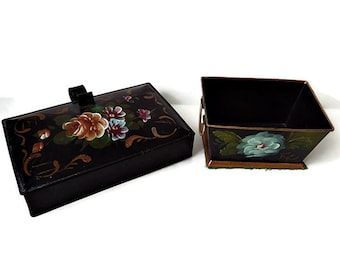 Vintage Hand Painted Decorware, Tole Painted Tin Silent Butler, Crumb Catcher and Urn with Flowers, 1950s