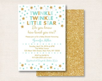 Twinkle Twinkle Little Star Baby Shower Invitation / Twinkle Star Baby Shower / Gold Glitter Star / Mint Green & Gold / PRINTABLE A216