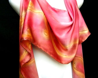 Red Silk Scarf, Silk Scarf Hand Painted, Satin Charmeuse, Hand Painted Silk Scarf, Red Gold Swirls