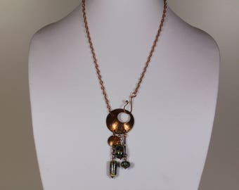 Copper lariat necklace with lampwork glass beads.